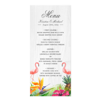 Tropical Floral Flamingo Pineapple Wedding Menu