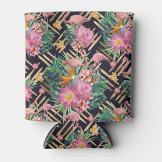 tropical floral flamingos and gold strokes can cooler