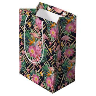 tropical floral flamingos and gold strokes medium gift bag