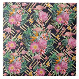 tropical floral flamingos and gold strokes tile