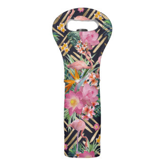 tropical floral flamingos and gold strokes wine bag