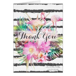Tropical floral flamingos stripes wedding design card