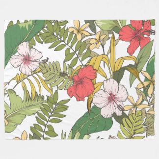 Tropical Floral Fleece Blanket