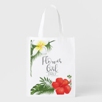Tropical Floral Flower Girl ID475 Reusable Grocery Bag