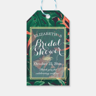 Tropical Floral Gold Frame Bridal Shower Thank You Gift Tags