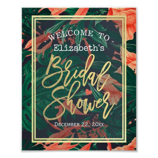 Tropical Floral Gold Frame Bridal Shower Welcome Poster