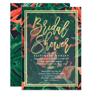 Tropical Floral Gold Frame Hawaiian Bridal Shower Card