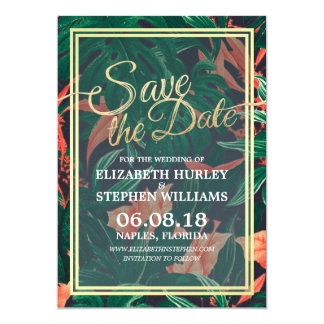 Tropical Floral & Gold Frame Wedding Save The Date Card