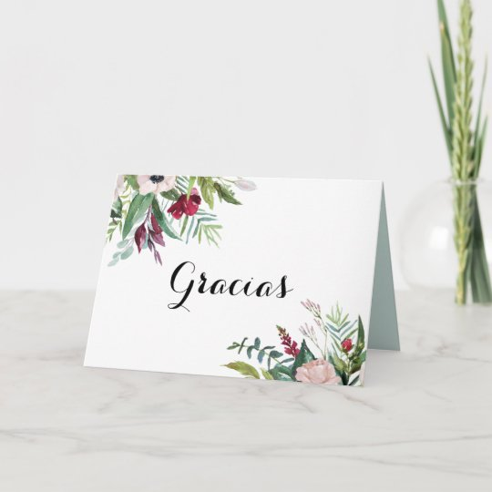 Tropical Floral Greenery Spanish Thank You Card | Zazzle.co.uk