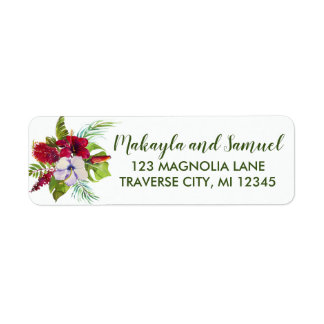 Tropical Floral Island Hibiscus Green Address