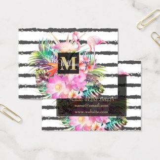 tropical floral leaves and flamingos stripes business card
