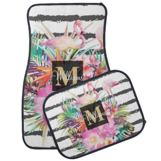 tropical floral leaves and flamingos stripes car mat
