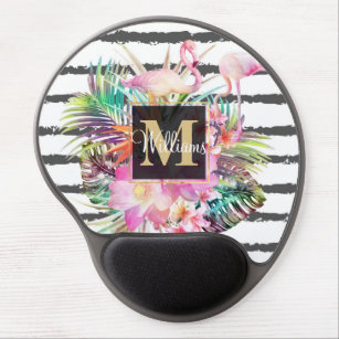 tropical floral leaves and flamingos stripes gel mouse mat