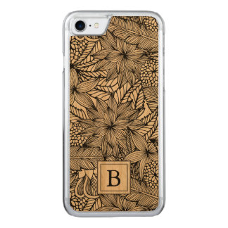 Tropical Floral Monogram Carved iPhone 7 Case