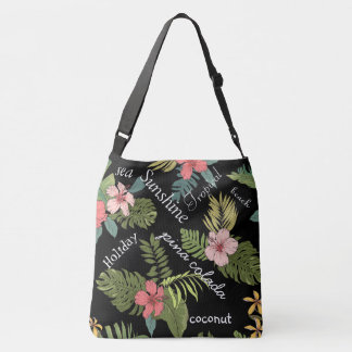 Tropical Floral On Black Background Typography Crossbody Bag