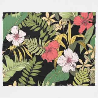 Tropical Floral On Black Fleece Blanket