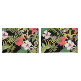 Tropical Floral On Black Pillowcase