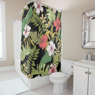 Tropical Floral On Black Shower Curtain