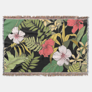 Tropical Floral On Black Throw Blanket