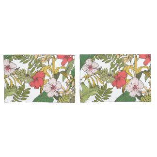 Tropical Floral On White Pillowcase