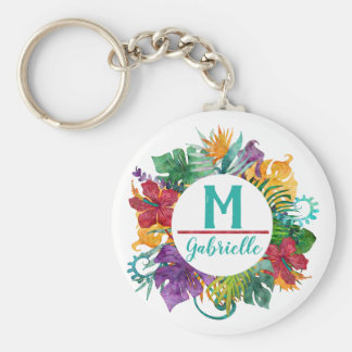 Tropical Floral Palm Wreath Monogram Initial Name Key Ring