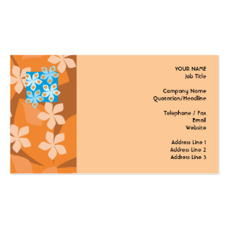 Tropical Floral Pattern. Blue and Orange. Business Card
