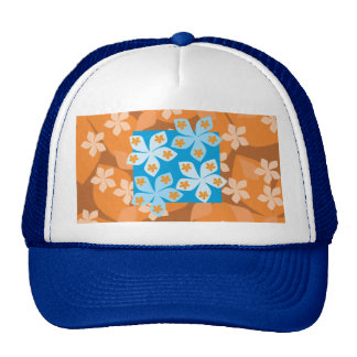 Tropical Floral Pattern. Blue and Orange. Cap