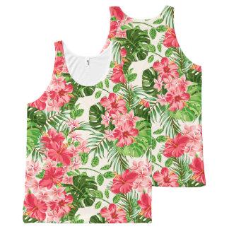 Tropical Floral pattern Pink HibiscusU Tank Top