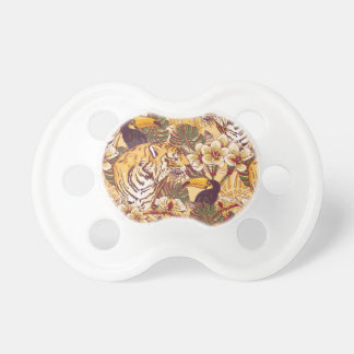 Tropical Floral Pattern With Tiger Baby Pacifier