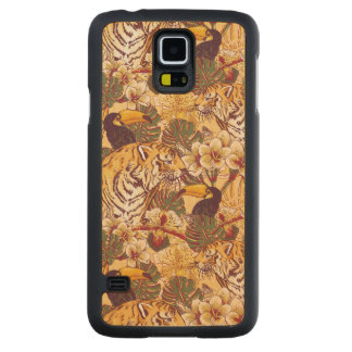 Tropical Floral Pattern With Tiger Carved Maple Galaxy S5 Case