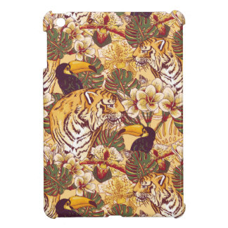 Tropical Floral Pattern With Tiger Case For The iPad Mini