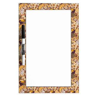 Tropical Floral Pattern With Tiger Dry Erase Board