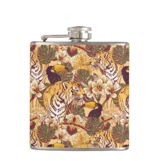 Tropical Floral Pattern With Tiger Flask