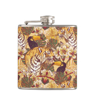Tropical Floral Pattern With Tiger Hip Flask