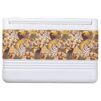 Tropical Floral Pattern With Tiger Igloo Cool Box