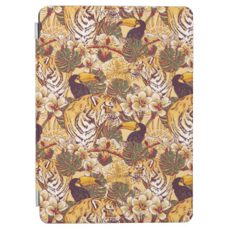 Tropical Floral Pattern With Tiger iPad Air Cover