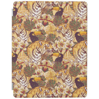 Tropical Floral Pattern With Tiger iPad Cover