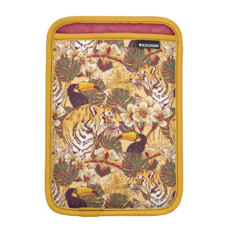 Tropical Floral Pattern With Tiger iPad Mini Sleeves