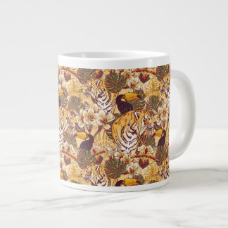 Tropical Floral Pattern With Tiger Large Coffee Mug