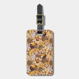 Tropical Floral Pattern With Tiger Luggage Tag