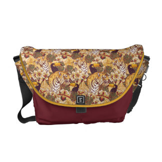 Tropical Floral Pattern With Tiger Messenger Bag