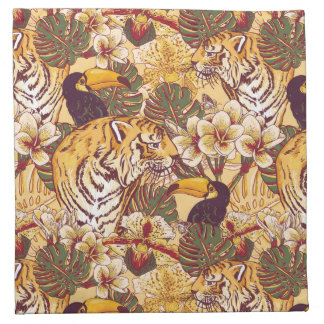 Tropical Floral Pattern With Tiger Napkin