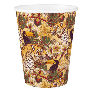 Tropical Floral Pattern With Tiger Paper Cup