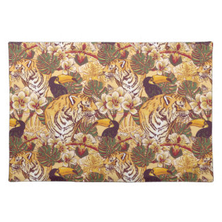 Tropical Floral Pattern With Tiger Placemat