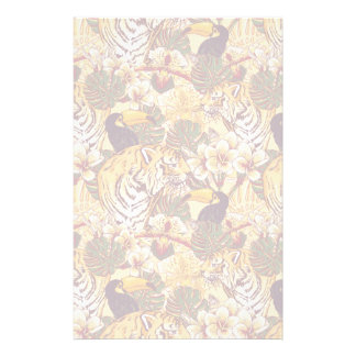 Tropical Floral Pattern With Tiger Personalized Stationery