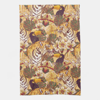 Tropical Floral Pattern With Tiger Tea Towel