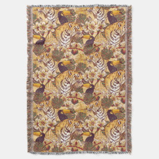 Tropical Floral Pattern With Tiger Throw Blanket