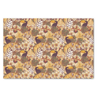 Tropical Floral Pattern With Tiger Tissue Paper