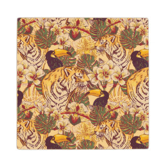 Tropical Floral Pattern With Tiger Wood Coaster