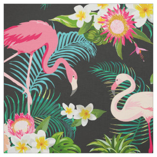 Tropical Floral Pink Flamingos Pattern Fabric
